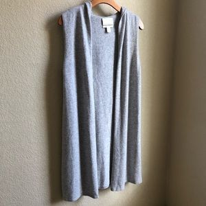 Cynthia Rowley grey cashmere sleeveless cardigan